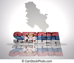 Word Serbia on a map background - Word Serbia with National...