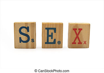 word sex in wood isolated on white background