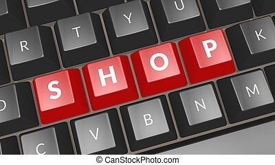 Word shop on black keyboard. Computer key showing the word shop. Professional expert icon. 3D illustration