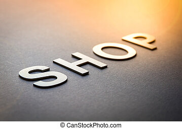 Word shop written with white solid letters
