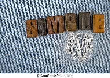 word simple in old letterpress type