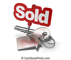Word sold and key with keyring with shaped house white background - real estate concept