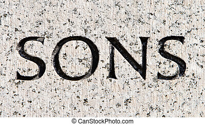 """Word """"Sons"""" Carved in Gray Granite Stone"""