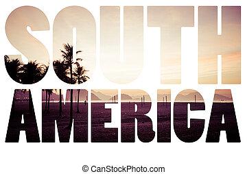 Word South America Copacabana Beach, Rio de Janeiro, Brazil