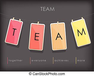 "Word spell ""TEAM"" on hanging note paper with rope."