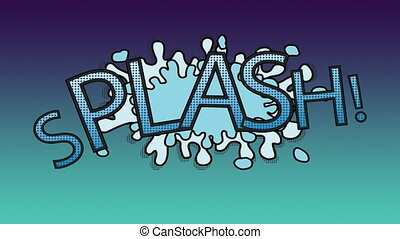 Word splash with splash behind on blue background