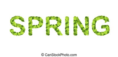 "Word ""spring"" composed of fresh green leaves"