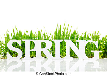 """Word """"Spring"""" with fresh grass isolated on white"""