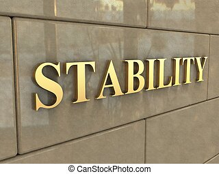 Word Stability - The word Stability is chiseled by gold...