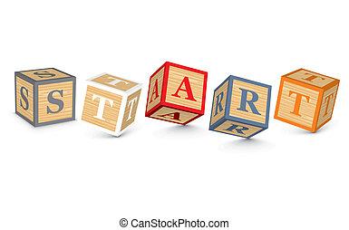 Word START written with blocks - START written with alphabet...