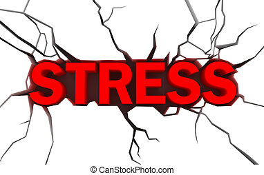 word stress in red color with cracks over white