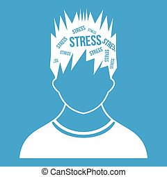 Word stress in the head of man icon white