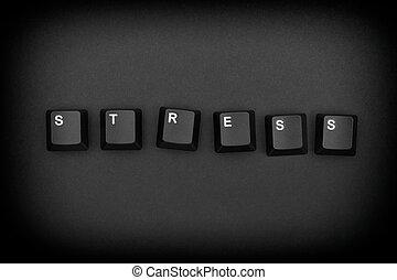 Word «Stress» written with computer keyboard keys
