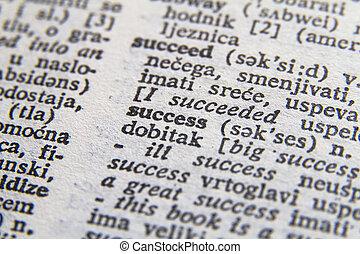 Word success close-up
