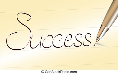 Word Success written by pen on ochre paper