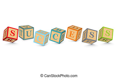 Word SUCCESS written with blocks