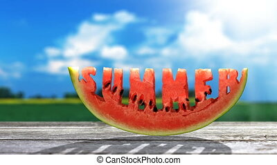 Summer - Word Summer  carved in a slice of watermelon