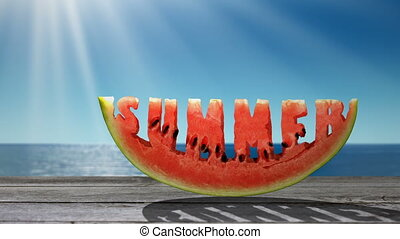 Summer - Word Summer carved in a slice of watermelon on the...