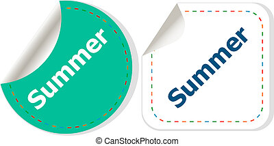 Word summer concept on button. Banner, web button or message for online web site, presentation or application