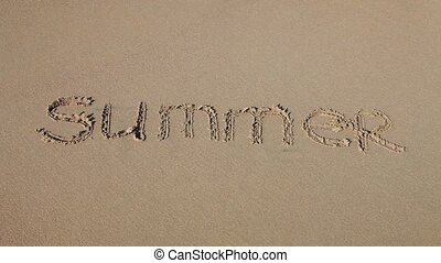 "Word ""Summer"" drawn in the sand"