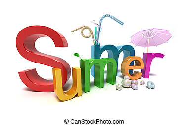 Word summer with colourful letters on white
