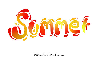 Word Summer with funny curved letters of bright colors