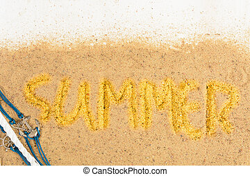 Word 'summer' writing on sand with shells over white wooden background