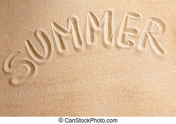 Word summer written by in the sand, background