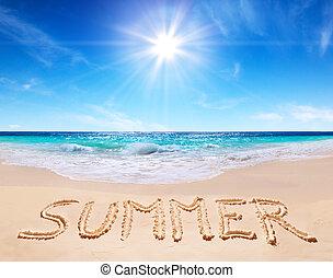 "word ""summer"" written on the beach"