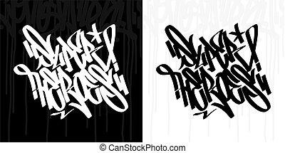 Word Superheroes Hip Hop Hand Written Graffiti Style Typography Vector Illustration Art