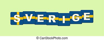 word Sweden is made of cubes in the colors of the national flag, Swedish language