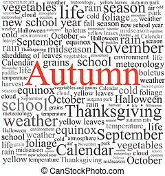 Word tag cloud concept illustration of autumn season on ...