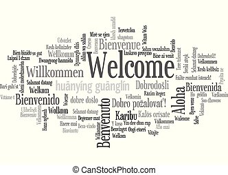 Word Tag Cloud, shows equivalents of 'Welcome'