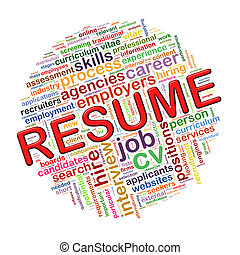 Word tags circular wordcloud of resume