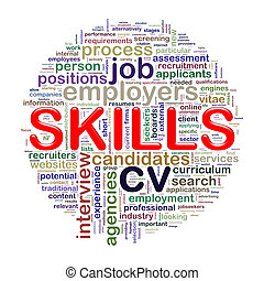 Word tags circular wordcloud of skills