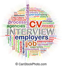 Word tags circular wordcloud of interview