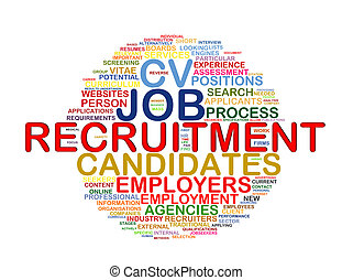 Word tags circular wordcloud of recruitment - Illustration...
