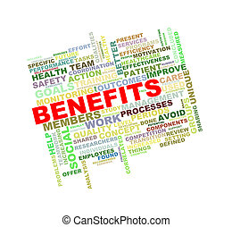 Illustration of wordcloud word tags of concept of benefits