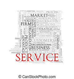 Word tags wordcloud of service