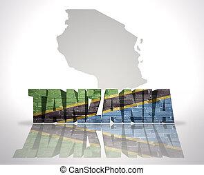 Word Tanzania with National Flag near map of Tanzania