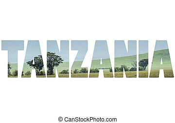 Word TANZANIA over wild animals.