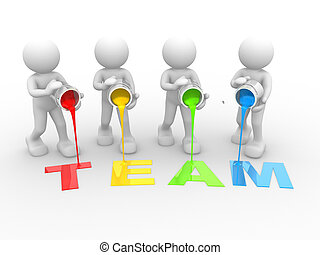 """Word """"Team"""" - 3d people- human character and word """"team"""" -..."""