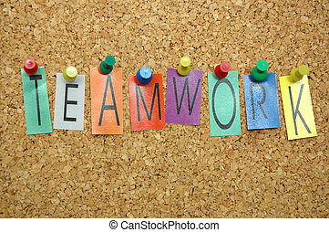 "Teamwork - Word ""Teamwork "" placed from colourful small..."