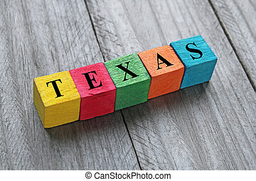word Texas on colorful wooden cubes