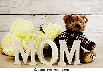 word text mom with space background mother's day concept