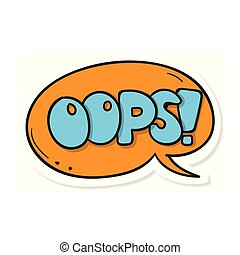 Word Text Orange Oops! Vector Image