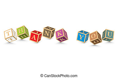 Word THANK YOU written with blocks - THANK YOU written with...