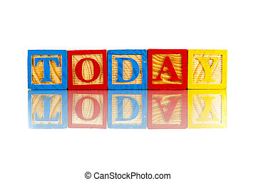word today on colorful cubes