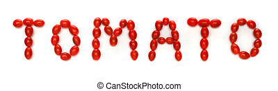 Word TOMATO written with cherry tomatoes