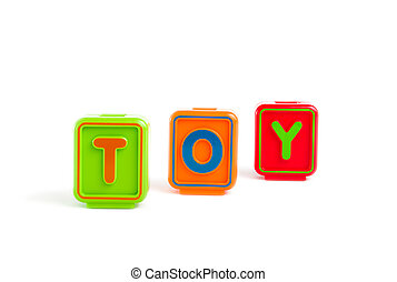 Word TOY with colorful blocks and white background